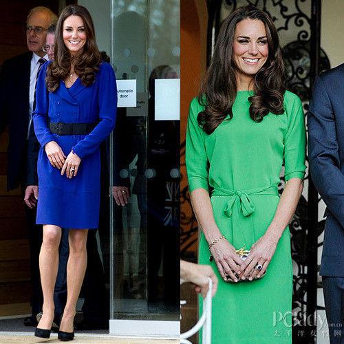 左:皇室蓝翻驳领连身裙;右:祖母绿简洁的丝织连身裙