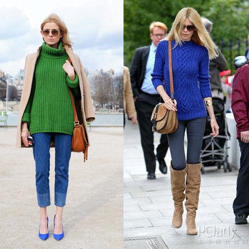 左:祖母绿高领毛衣;右:皇室蓝圆领毛衣