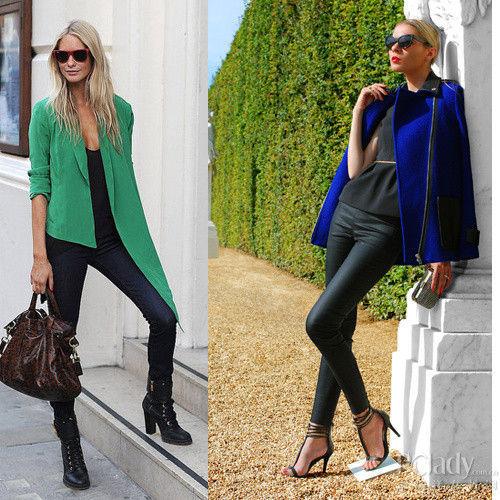 左:祖母绿西装款不规则外套;右:皇室蓝外套配搭皮裤