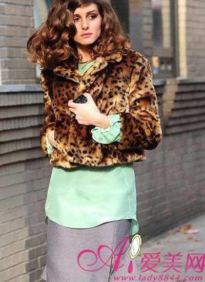 豹纹皮草短款外套