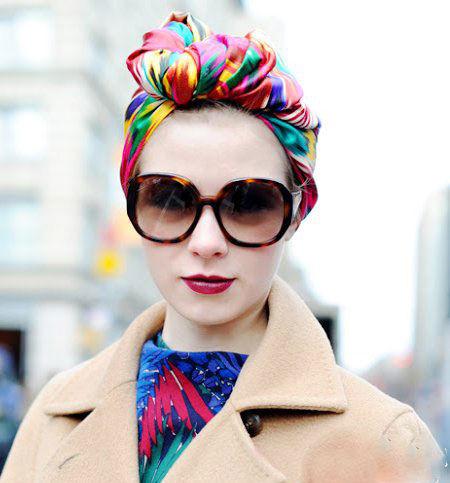 五色头巾包裹头发复古迷人