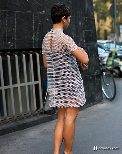 白色透视镂空裙