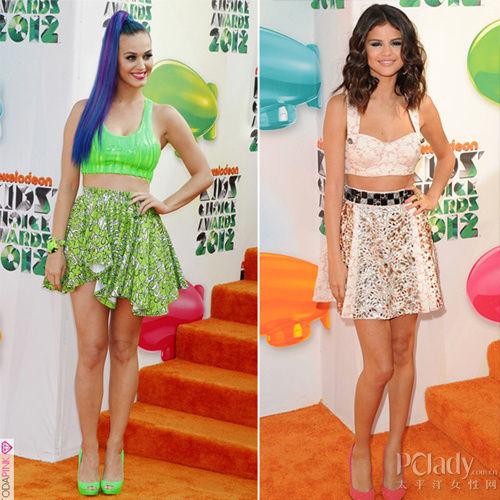 左:凯蒂·佩里(KatyPerry) 右:赛琳娜·戈麦斯 (Selena Gomez)