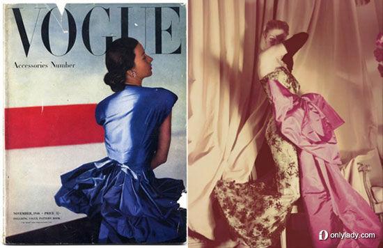 1946年的VOGUE杂志封面上的Balenciaga礼服、1950年VOGUE杂志上的Balenciaga礼服