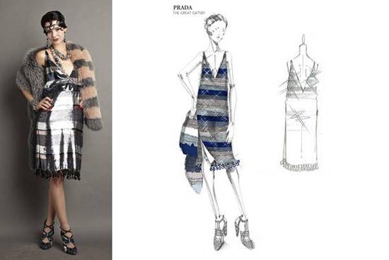《了不起的盖茨比》片中服装的设计草图