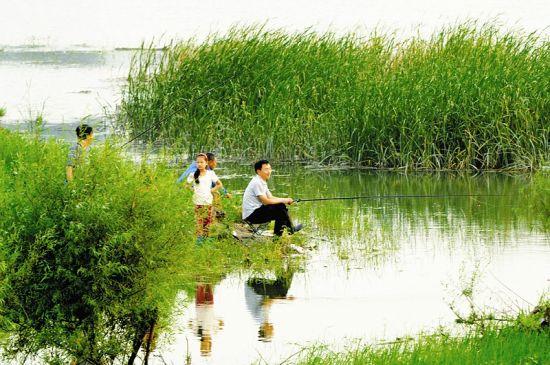 汾河湿地成垂钓乐园