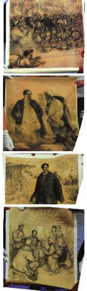 警方展示的《同欢共乐》、《 毛主席和牧羊人》、《 毛主席在大生产中》、《 拉家常》四幅作品(局部)