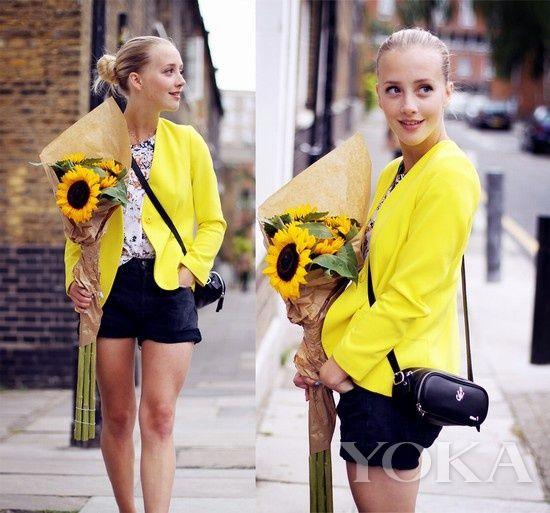 荧光黄色西装搭配黑色短裤干练帅气