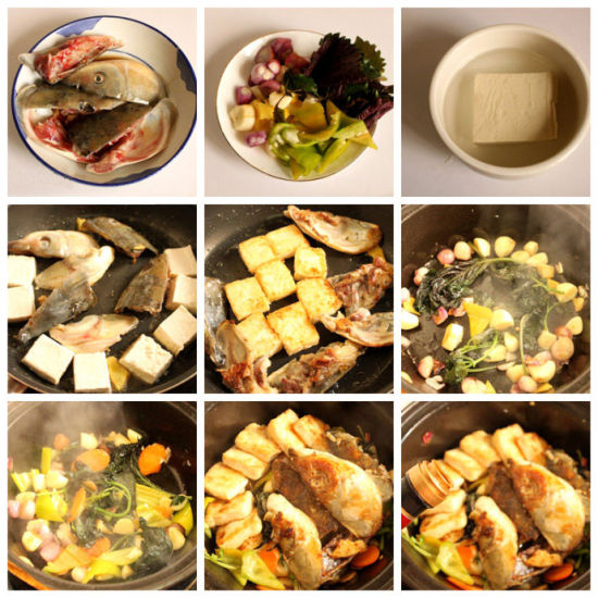 紫苏鱼头豆腐煲做法