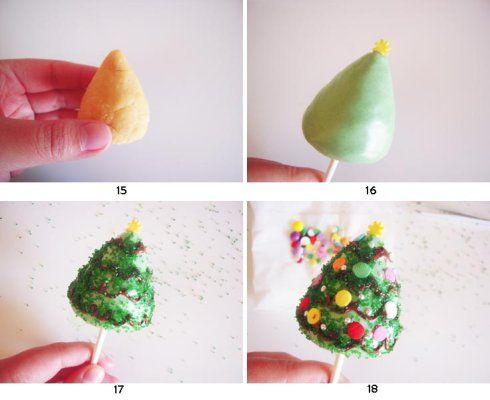 【圣诞树-棒棒糖蛋糕】的做法