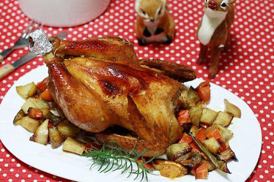 家庭圣诞烤鸡