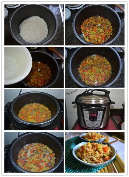 腊肠杂蔬焖饭做法