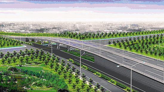 建设路改造学府街跨线桥效果图