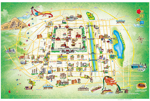 西首张手绘旅游地图 手绘大同 面世图片