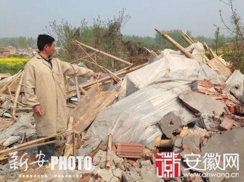 五河县一养猪户被通知见镇领导时,家中猪场被拆,193头猪失踪。