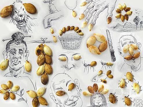 吃货用瓜子作画