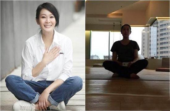 刘若英挺孕肚做瑜伽