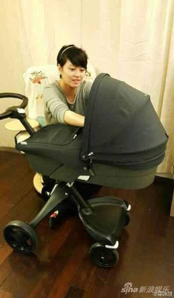 梁咏琪备产拼装婴儿车