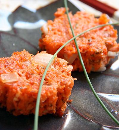 香酥红鲑鱼饼