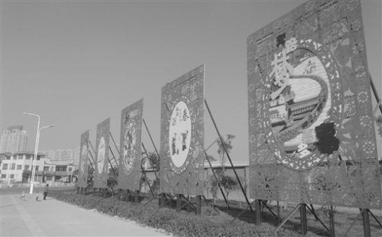 """晋中市城区""""中国梦""""立体剪纸造型雕刻矗立街头"""